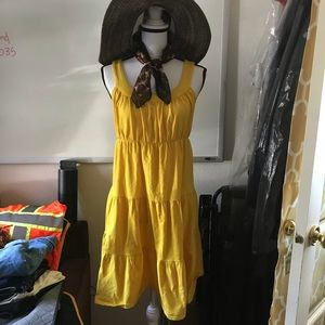 Fashion Bug yellow cotton sun dress M lite & fun